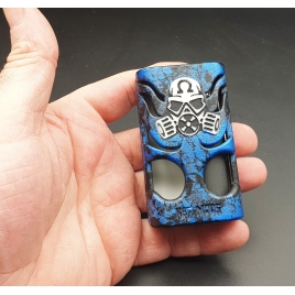 "GOLIATH REBORN - "" THE BEETLE"" - BRUSHET BLUES AND DOOR FULL ENGRAVED WHIHE AND BLUES CUSTOM."