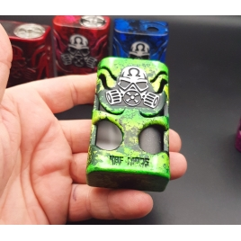 """GOLIATH REBORN - """" THE BEETLE""""- BRHUSED GREEN AND DOOR ENGRAVED CUSTOM WHITE AND GREEN FLUOR- 21700"""